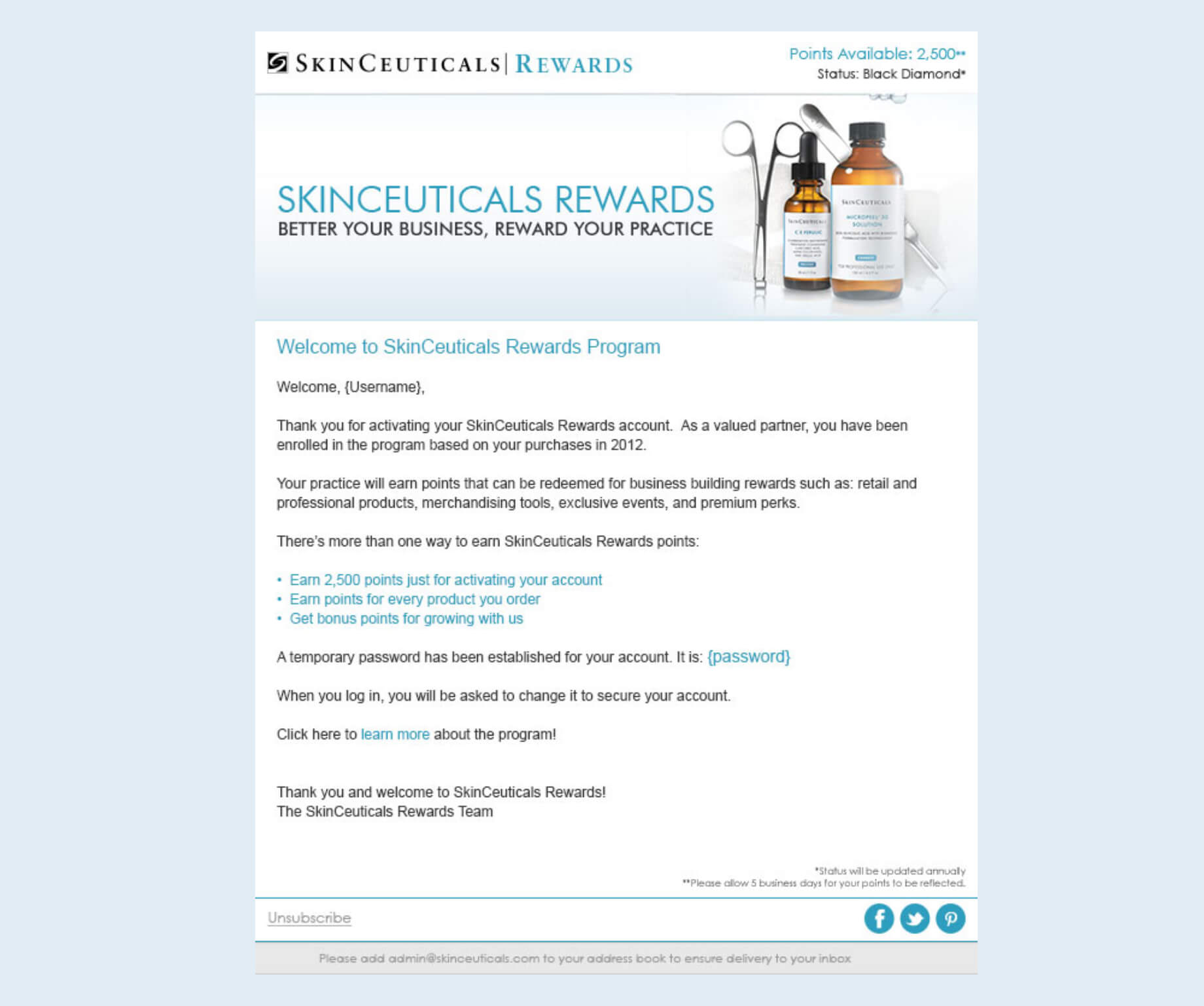 Image of SkinCeuticals Welcome Email Design